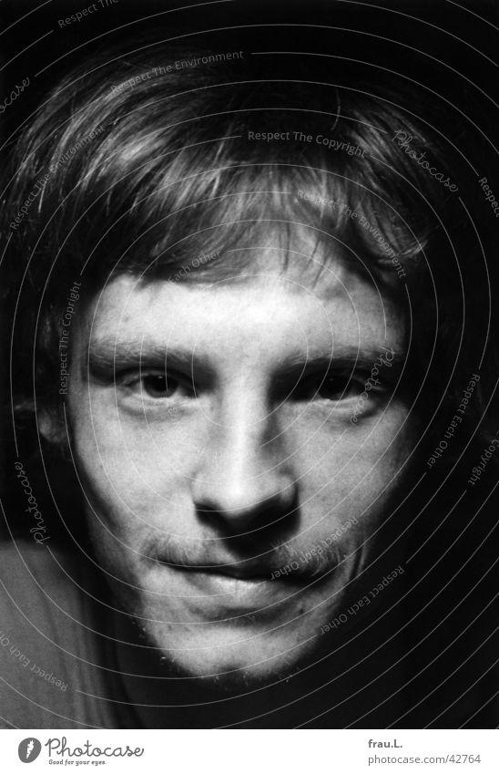 view Man Blonde Freckles Facial hair Moustache portrait Intensive Human being 1976 Stubble Eyes Laughter Face Black & white photo