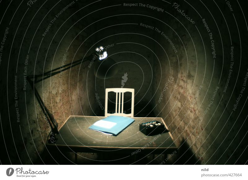 Blue Loneliness Dark Emotions Interior design Gray Stone Lamp Moody Fear Dirty Office Gloomy Decoration Threat Chair