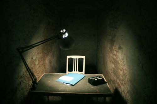 Interrogation Room - Making of Alkaline Interior design Decoration Furniture Lamp Chair Workplace Office File Cellar Stone Threat Dirty Dark Creepy Gloomy Blue