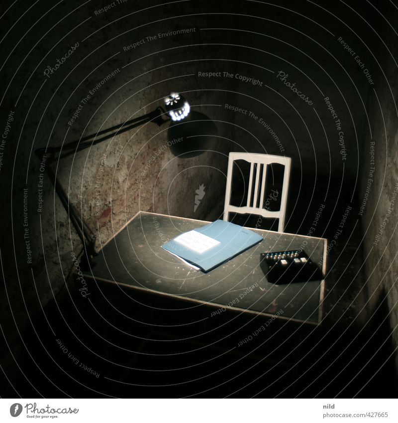 Interrogation Room - Making of Alkaline Living or residing Arrange Interior design Lamp Desk Chair Cellar Office File Dark Creepy Blue Black Comfortless Cold