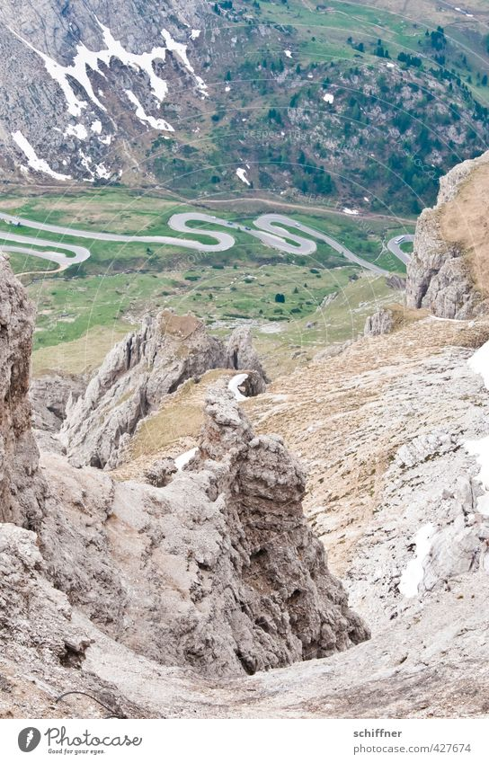 I'm gonna get down that hole! Environment Nature Landscape Rock Alps Mountain Peak Canyon Exceptional Dangerous Steep Steep face Winding road Street Pass Whorl