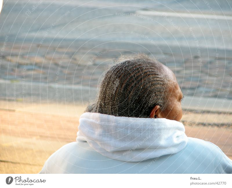 wait for the bus Woman Gray Bus stop Hair and hairstyles Portrait photograph Braids Senior citizen Human being Wrinkles Rag Wait Street Female senior