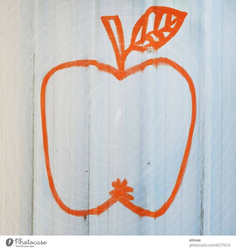 An orange stylized apple with stem and leaf on a white wall Apple conventionalize Orange handle Leaf Painting (action, artwork) spray Wall (building)