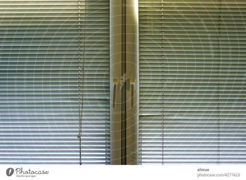 Double window from the inside to which two pleated metal blinds are attached / privacy / blackout Pleated blinds Venetian blinds Screening Window double windows
