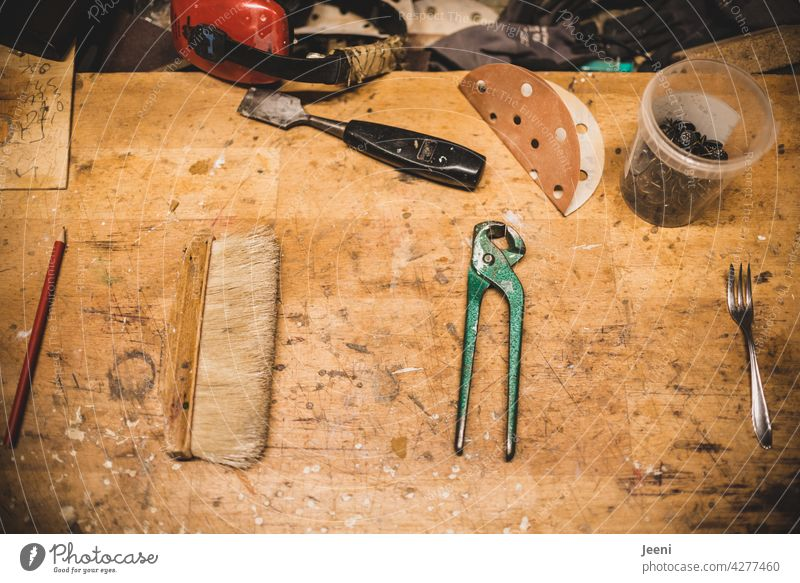 Everything has its place | even in the carpenter's workshop everything is in order - pencil, broom, tongs and cake fork Joiner carpentry Carpenter Joinery