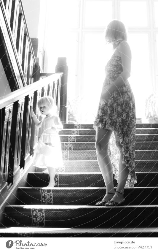 on the stairs Human being Feminine Child Toddler Woman Adults Mother Infancy Body 2 1 - 3 years 30 - 45 years Sun Sunrise Sunset Sunlight Stairs Window Dress