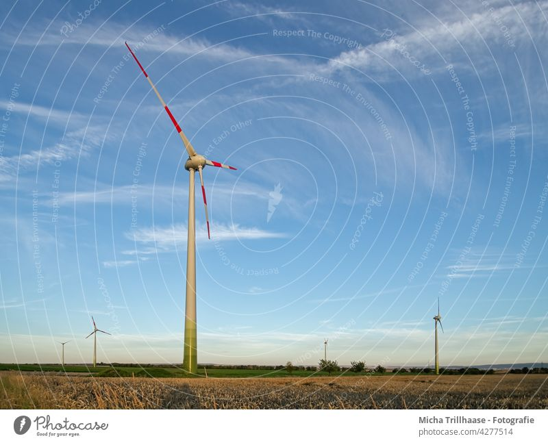 Wind turbines in the landscape windmills Wind energy plant Renewable energy Technology Energy industry Agriculture sustainability Electricity stream