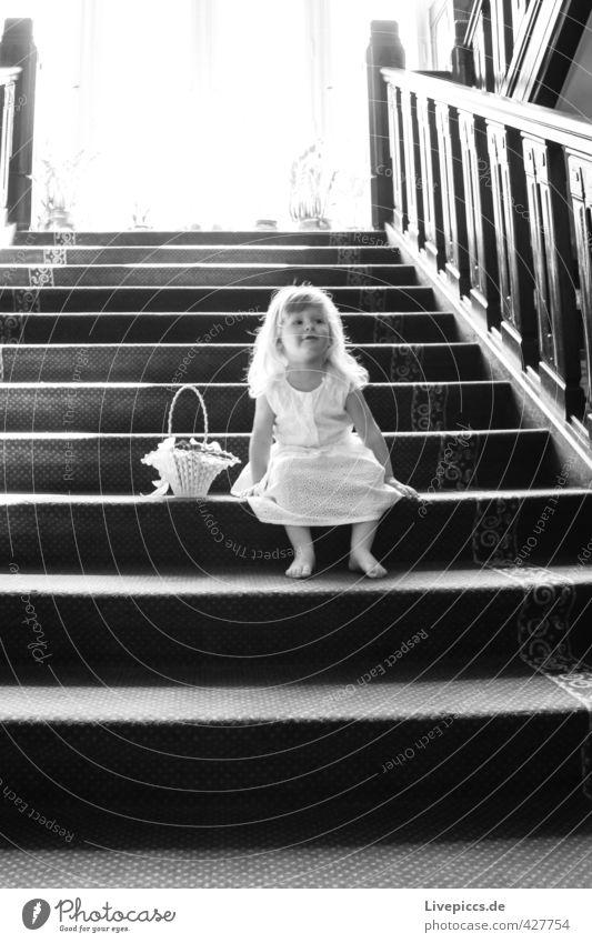 Human being Child White Girl Black Window Feminine To talk Think Body Stairs Elegant Sit Wait Illuminate Friendliness