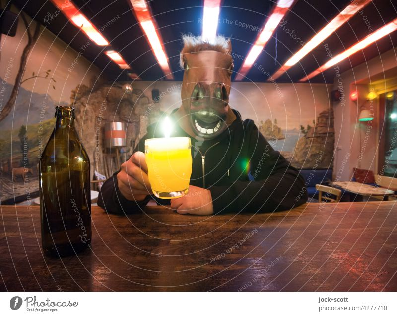A man drinks, a horse drinks, with beer it is the other way round. Bottle of beer Beer Funny Roadhouse Alcoholism Identity Addiction Horse's head Fantasy