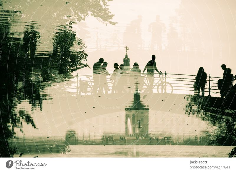 Bridge + visitors at the castle in the pond Reflection Silhouette Park Inspiration Double exposure Pond Fantastic Architecture Sightseeing Exceptional Illusion