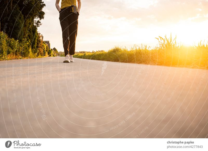woman walking in the evening on field, low sun Woman To go for a walk Field Evening Sun off the beaten track evening light Summer stroll Going Lanes & trails