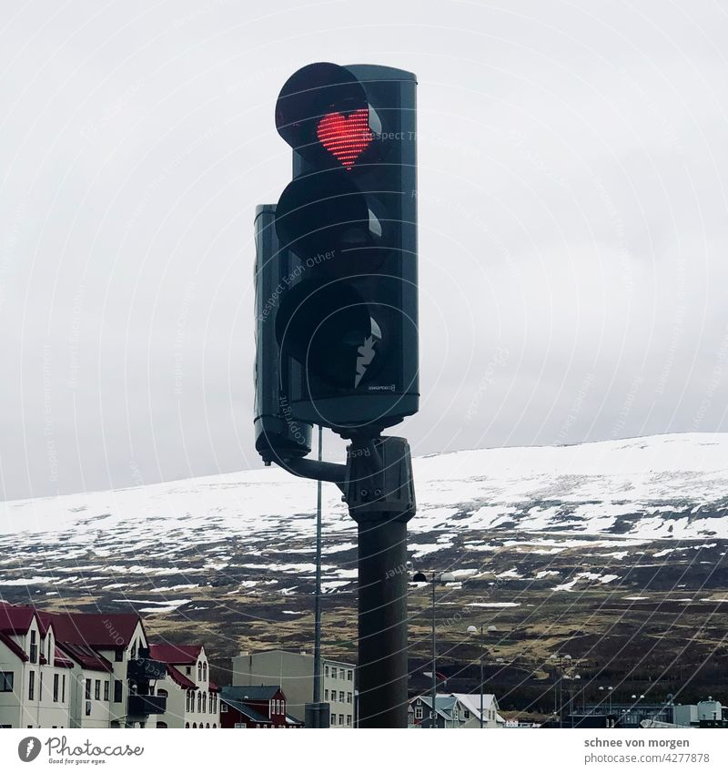 Heart in traffic light Traffic light Akureyi Iceland Winter Snow mountains vacation Mountain Exterior shot Colour photo Landscape Nature Deserted Adventure
