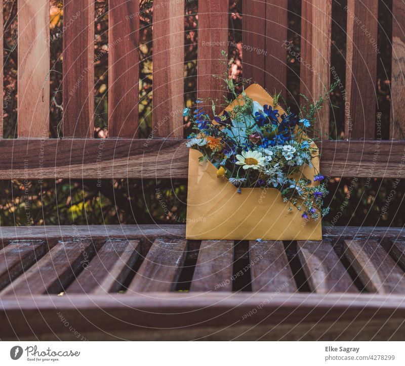 Flower greetings left on a bench in an envelope Bench flowers Garden Colour photo Spring Exterior shot Blossoming Close-up