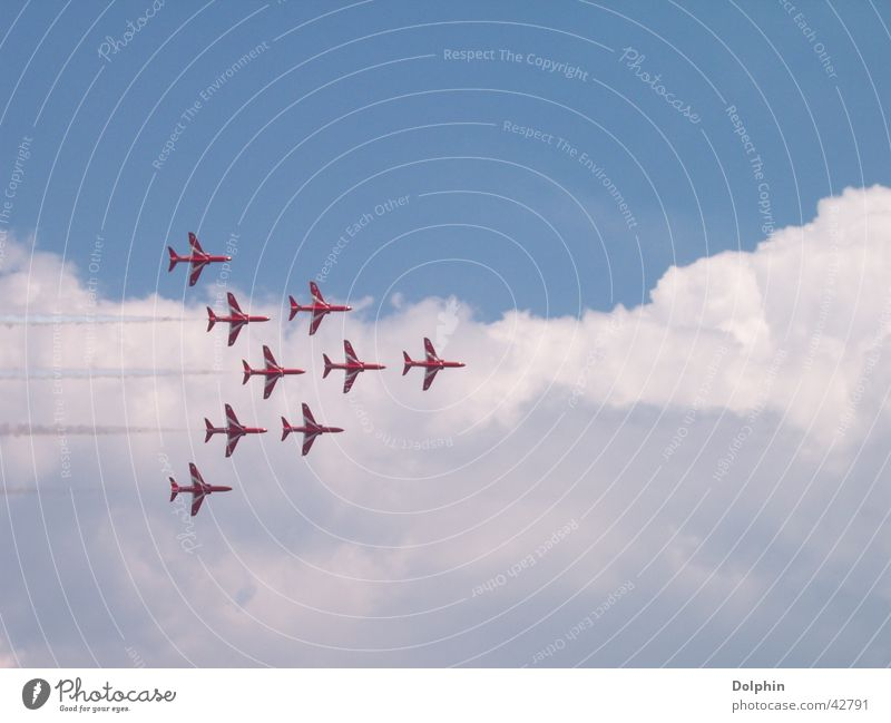 Clouds Airplane Aviation Formation Great Britain Air show Red Arrows