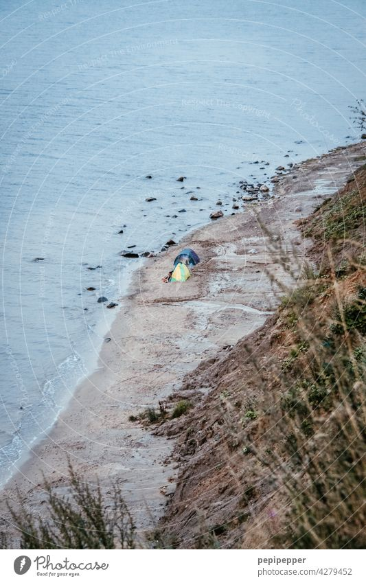 Wild camping at the Baltic Sea Tent Tarpaulin Colour photo Exterior shot Camping Adventure Vacation & Travel Landscape Freedom Tourism Relaxation