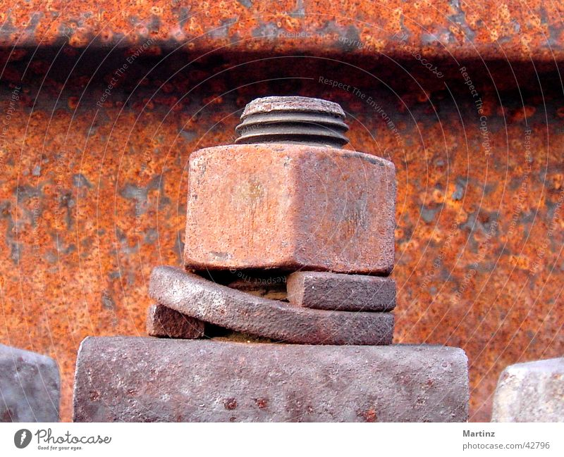 screw Screw Railroad tracks Fastening Charlottenburg Electrical equipment Technology Rust abandoned track