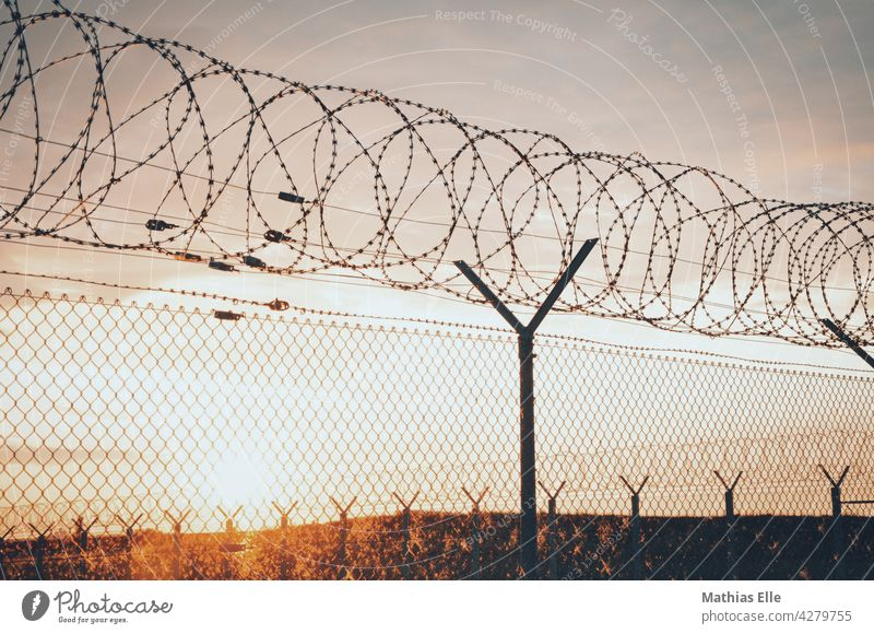 Chain link fence with barbed wire Barbed wire Fence Barbed wire fence Threat Wire netting Wire netting fence Safety Dangerous Barrier Border Bans Sky Blue