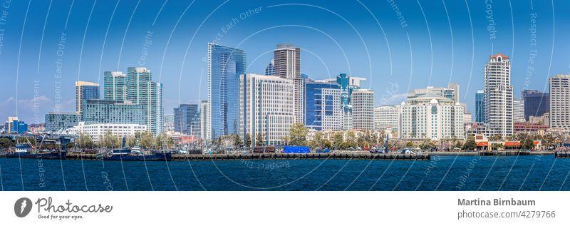 Panorama of the skyline of San Diego, California san diego waterfront urban skyscraper downtown coronado reflection architecture california banner cityscape