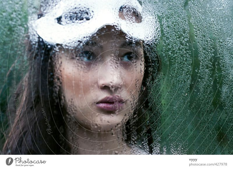 water drops Feminine Girl Young woman Youth (Young adults) 1 Human being 13 - 18 years Child 18 - 30 years Adults Mask Black-haired Long-haired Looking Dream