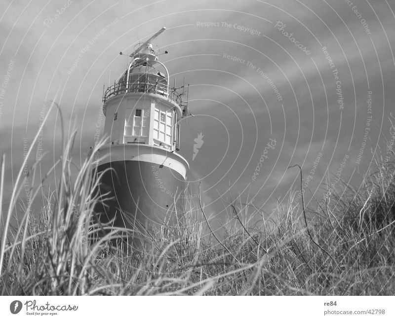 glow towers Netherlands Lighthouse Black White Gray Grass Clouds Architecture Tower North Sea Wind Beach dune Sky Texel