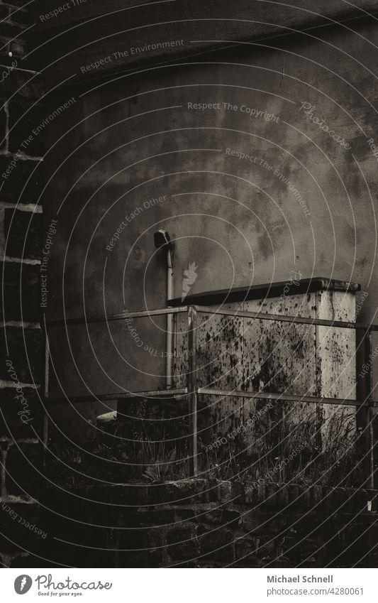 Old power box dark corners dark energy stream Distribution Former Exterior shot Sombre mood somber Moody