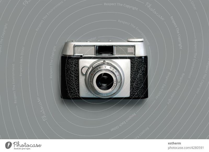 Old analog vintage photo camera.Concept photographer background classic lens black retro vacation travel equipment object nostalgia manual style old film