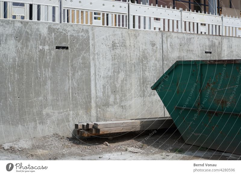 Grey site Construction site construction Gray Concrete site-face concrete Mulde Container Wood Fence Sand Dirty Architecture Sunlight Deserted Shadow