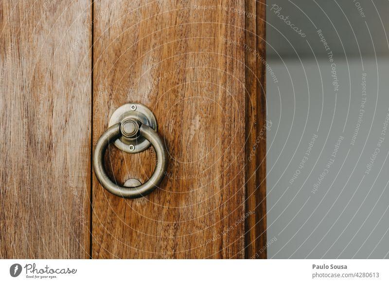 Wooden Door with handle Door handle Door lock Handle wooden Entrance Lock Detail Colour photo Wooden door door handle Deserted Safety Front door Closed Old