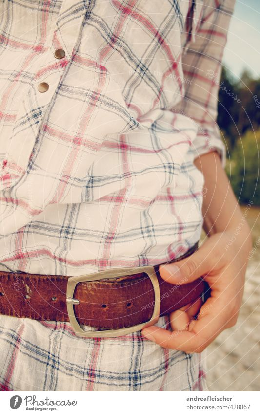 IHKA Masculine Young woman Youth (Young adults) Life 1 Human being 18 - 30 years Adults Diet Belt Checkered Buttons Shirt Hand Weight Forest Freedom Nature Thin