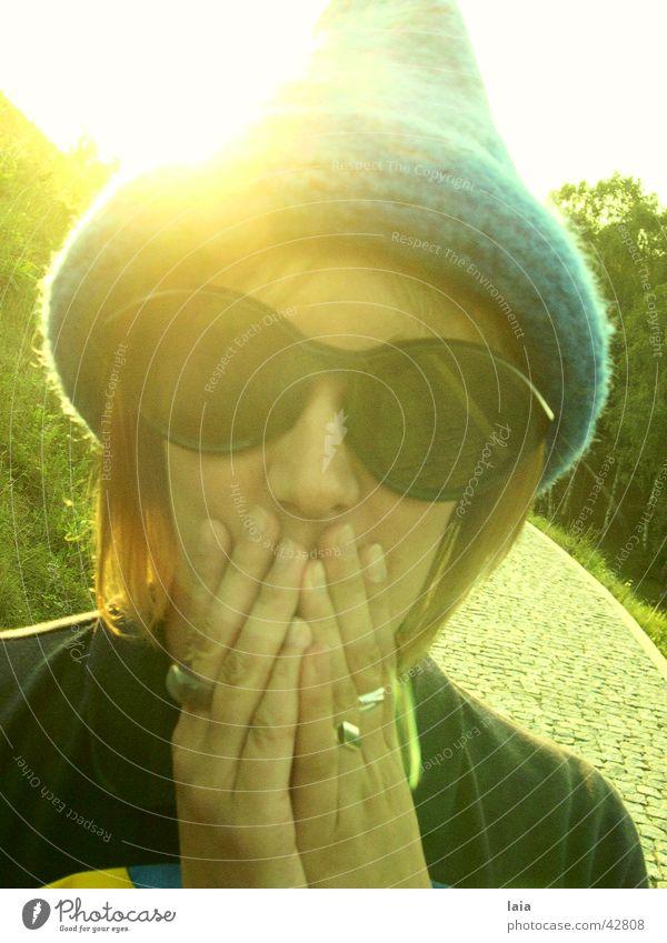 magic Eyeglasses Summer Hand Woman Sun Hat Blue
