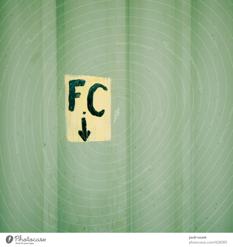 F.C down Green Warmth Style Metal Arrangement Characters Beginning Simple Stripe Sign Retro Curiosity Mysterious Firm Near Arrow