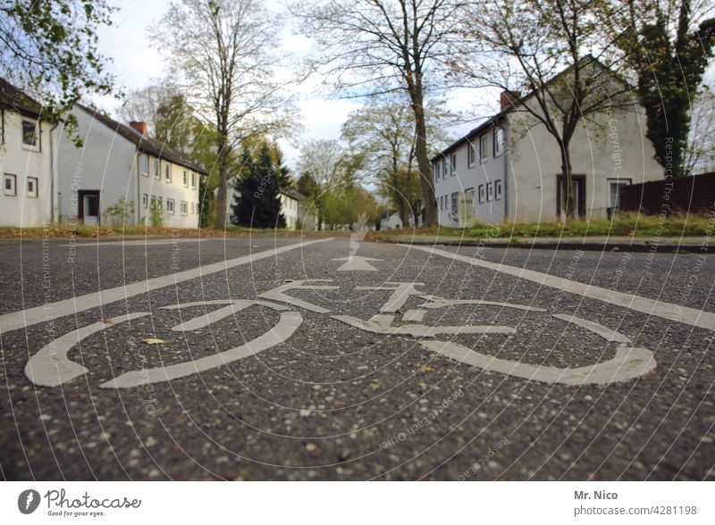 cycle path Road marking Street lines Asphalt Cycle path Transport Multi-line trace Traffic regulation bicycle lane Traffic infrastructure Road traffic