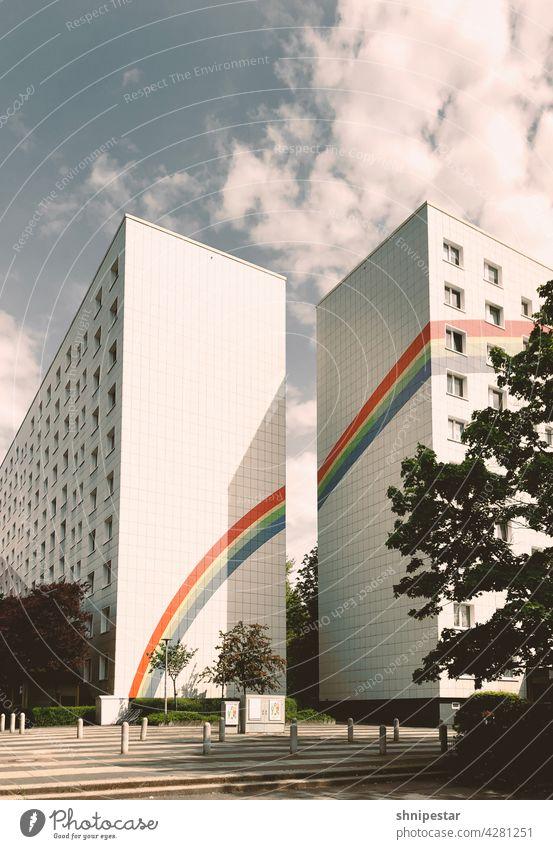 Pride month pride festival gay Berlin Tolerant Lichtenberg lesbian LGBT LGBTQ bisexual Transgender Rainbow Prefab construction GDR architecture Sunlight Shadow