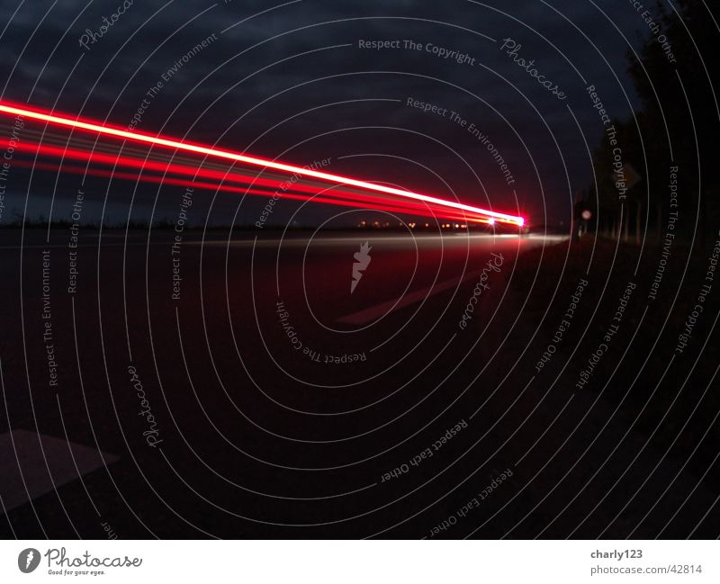 Trace of light Night Dark Black Rear light Red Driving Tracer path Transport Car Street Lamp