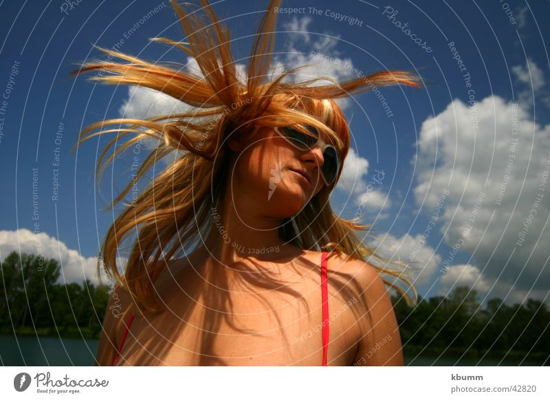 Woman Sky Sun Blue Beach Strand of hair