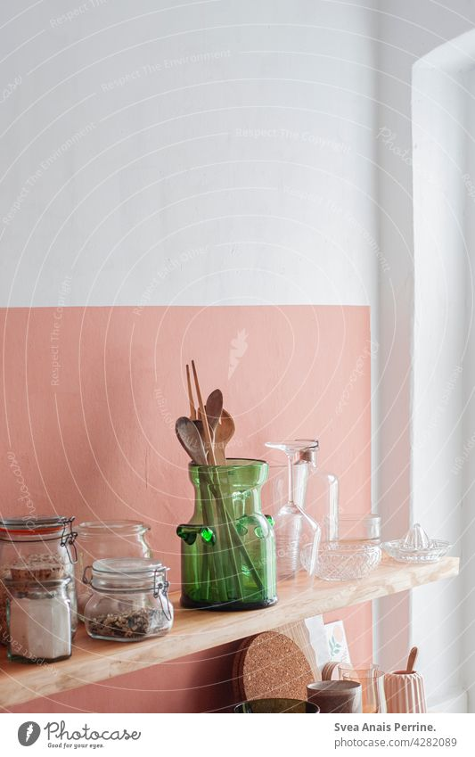 Color brings life Kitchen dwell Wall (building) wall paint Shelves Wooden spoon wooden spoon Nutrition Healthy Interior shot Interior design Still Life