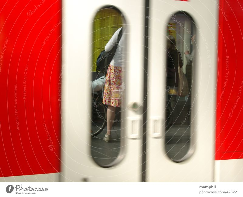 Woman Door Transport Train station Platform Schedule (transport)