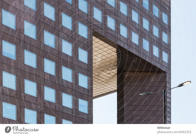 Boxes upon boxes - a modern building in the city centre Manmade structures Office building Modern Square square geometric Arranged Lantern Street Facade