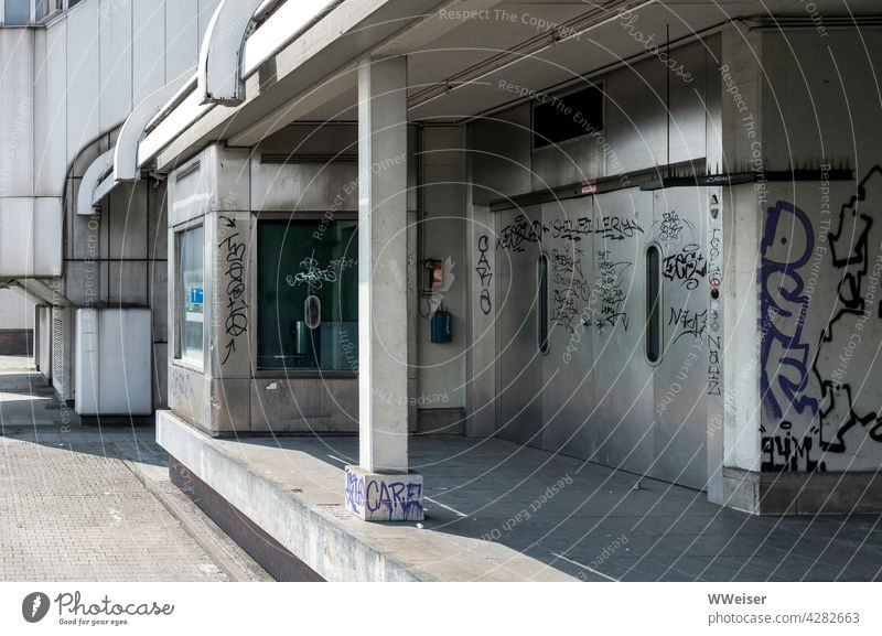 Where once great congresses were held, now everything is closed and deserted Congress center Berlin Metal Architecture Modern Large urban Entrance graffiti