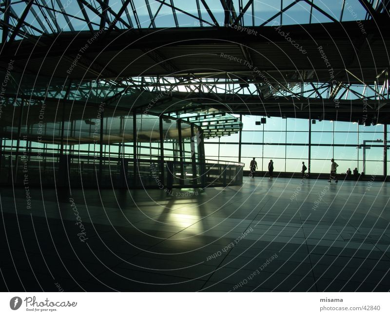 Airport Dresden Glass Window Sunbeam Domed roof Radiation Brilliant Loneliness Light Reflection Iron Steel Architecture Blue Contrast