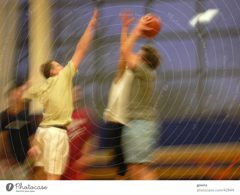 Shot it! Block Light Basketball Group streetball Warehouse rebound jump shot Throw Sports Movement match