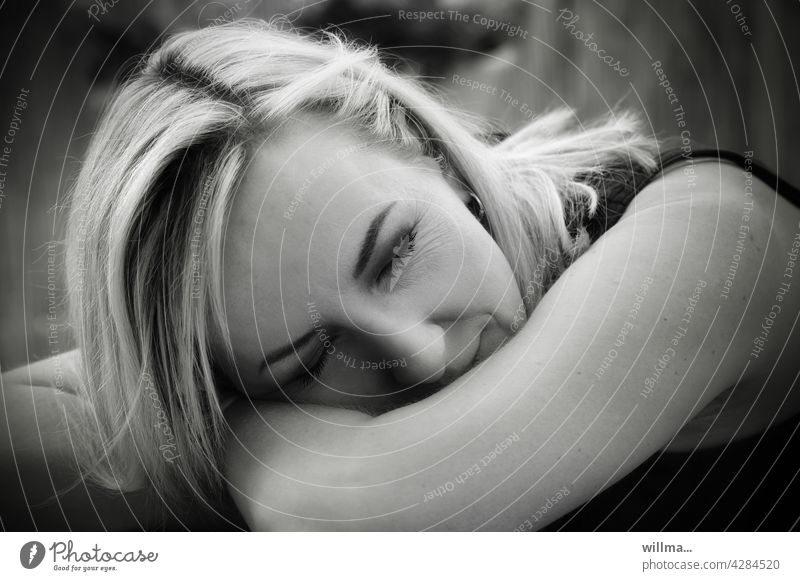 tired. broken. listless. Fatigue Exhaustion stressed burnout migraine Allergy Woman Blonde Sleep propped up drained