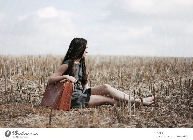Human being Child Nature Youth (Young adults) Blue Girl Calm Clouds Emotions Freedom Natural Dream Moody Brown Field Sit
