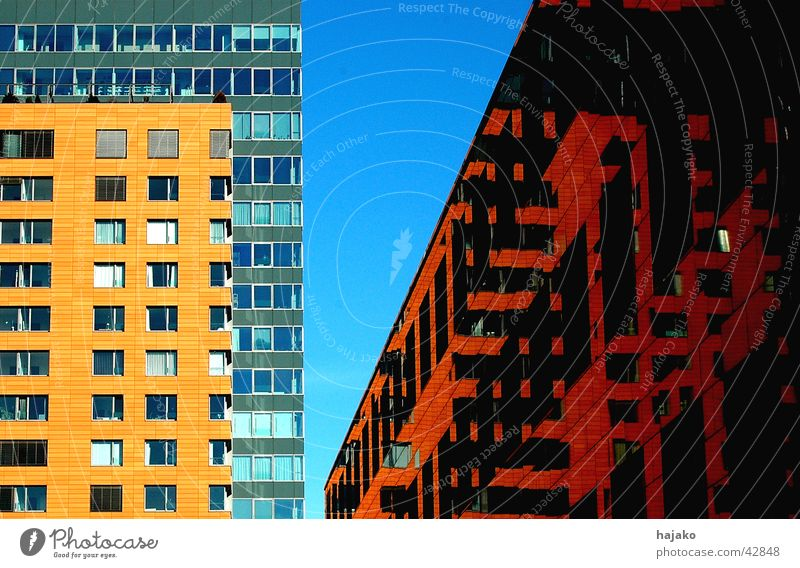 Three-House Corner Office building Sunlight Reflection Red Architecture Modern Blue