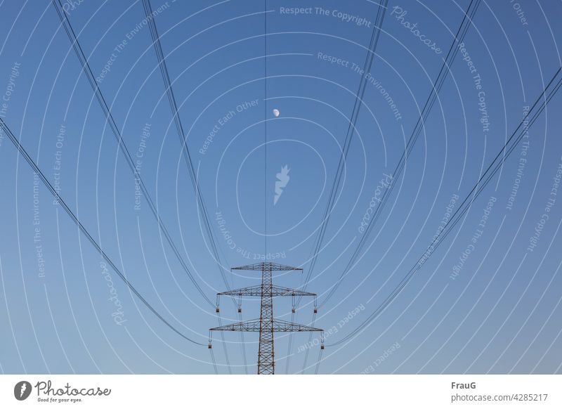 far away   the moon Sky Moon heavenly bodies Evening Electricity pylon Cables transmission line Overhead line High voltage power line high voltage Energy stream