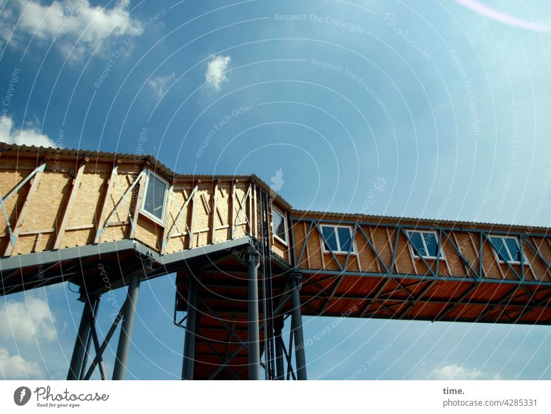 crossing Stairs roofed Scaffolding Architecture Manmade structures Crossing Protection Safety Construction site Corridor Window Tall Sky Beautiful weather