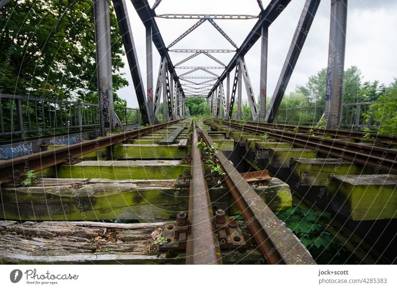 Distance lost to cross an obstacle rail lost places Railroad tracks Traffic infrastructure Railway bridge Sky Bridge Direct Architecture Old Decline