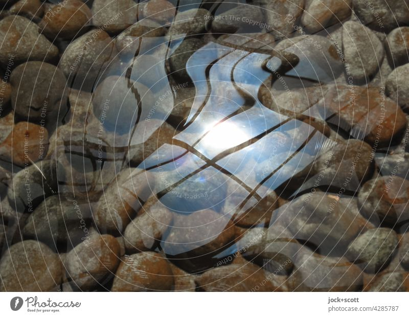 Reflection on calm water surface Water Stone Well Diffuse Abstract Structures and shapes Silhouette Undulating Surface of water Light (Natural Phenomenon)