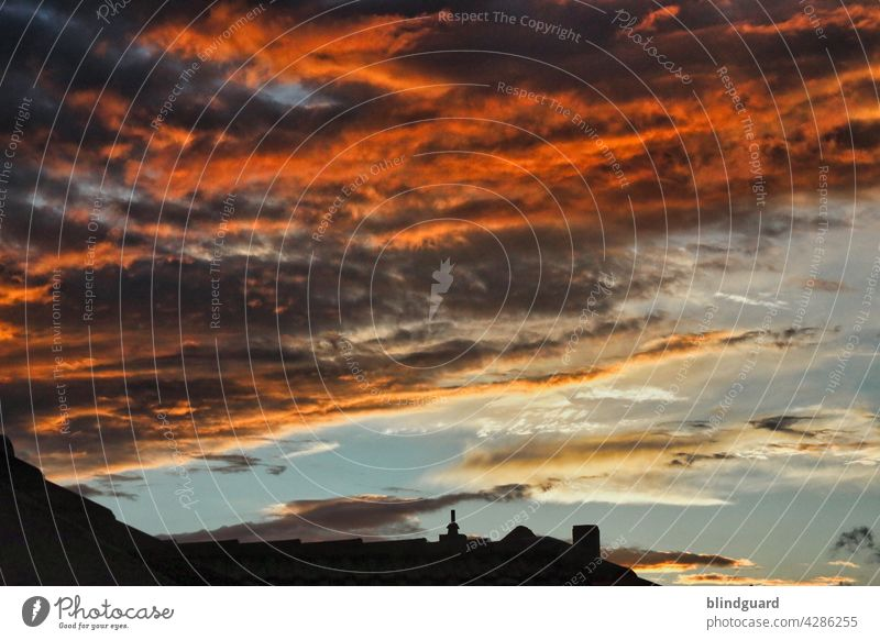 Dark Burning Skies Over The City Sunset Threat colourful Evening Clouds Twilight Sky Exterior shot Deserted Roof roofs Town Colour photo Shadow Silhouette