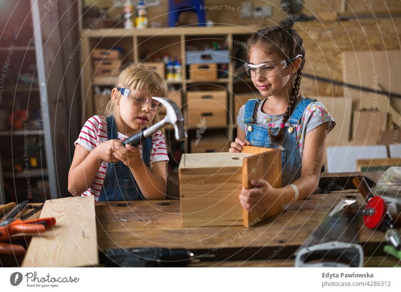 Two little girls building birdhouse in garage workshop working people child children kid kids girl power Skill craft Garage Hobby Lifestyle tools Concentration